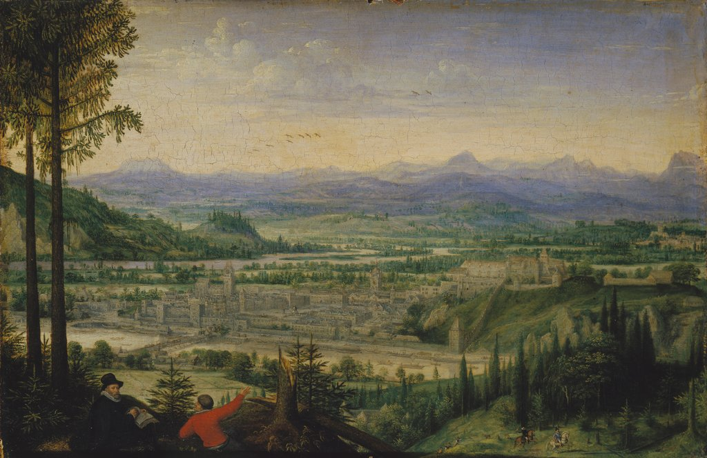 View of Linz with Artist Drawing in the Foreground, Lucas van Valckenborch