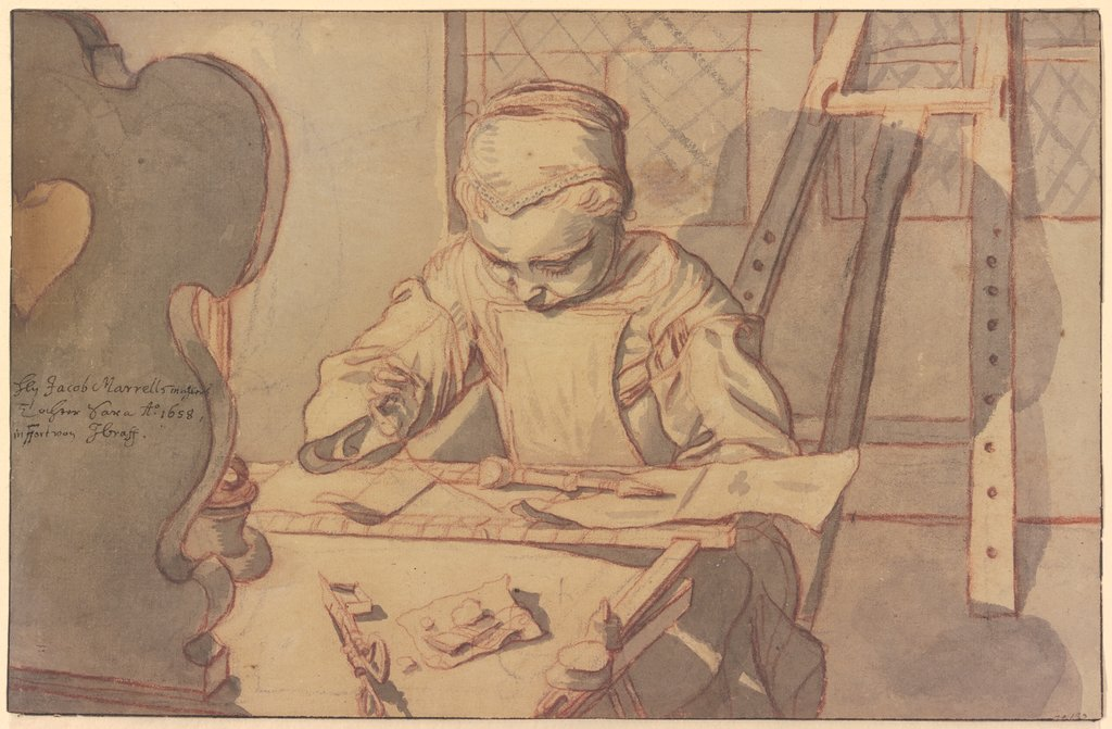 Sara Marrel, seated at a table and engaged in embroidery, Johann Andreas Graff