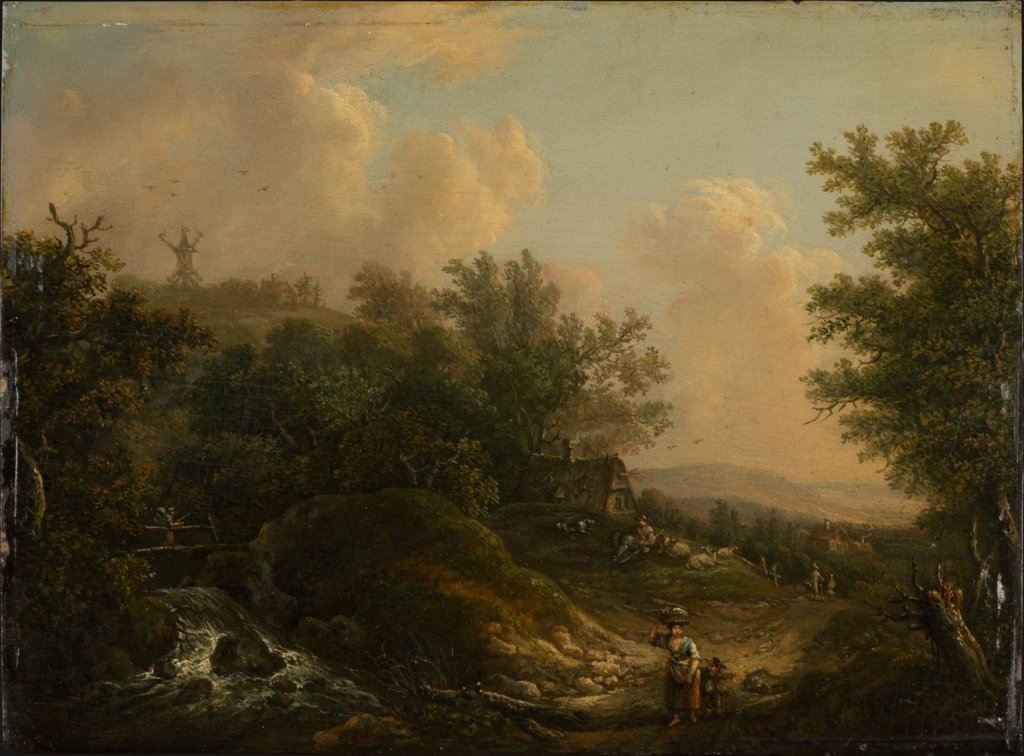 Landscape with a Brook and Hikers, Johann Peter Neef   ?