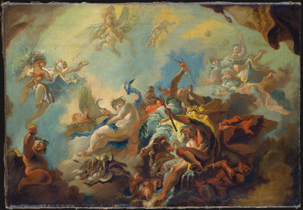 The Four Elements, Preparatory Study for a Painted Ceiling (Allegory of Time?), Franz Anton Maulbertsch