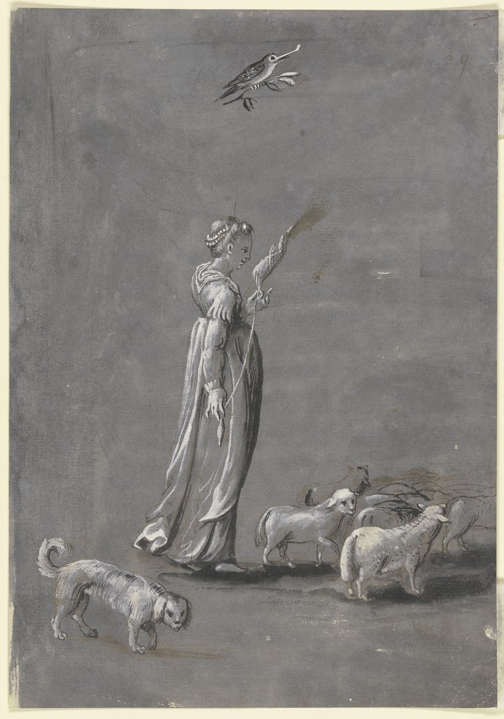 Girl with a spindle, Italian, 16th century