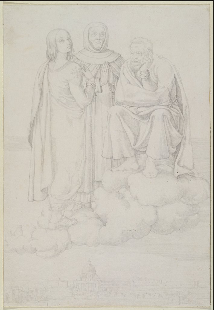 Raphael, Fra Angelico and Michelangelo on a Cloud over Rome, Franz Pforr