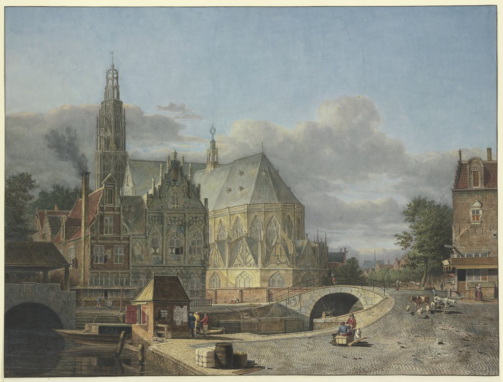 Town view with church, Johannes Huibert Prins