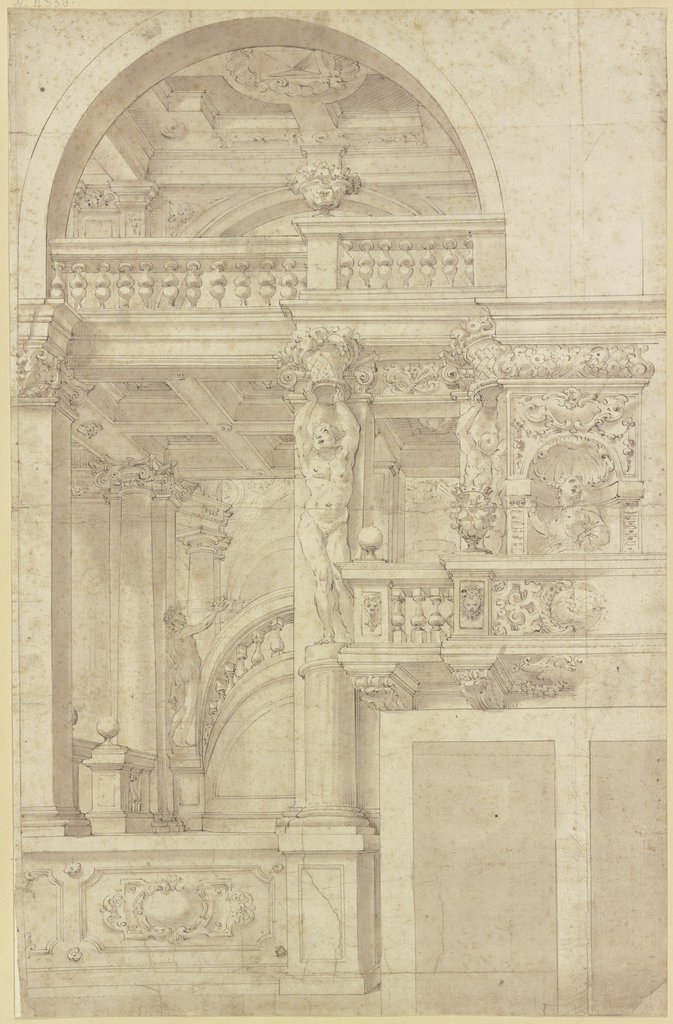 Treppe in einer mit Karyatiden geschmückten Säulenhalle, Antonio Roli, after Angelo Michele Colonna, after Agostino Mitelli
