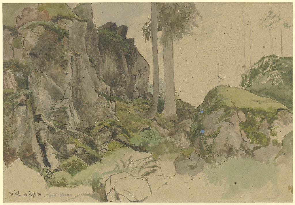 Rocks near St. Blasius, Black Forest, Hans Thoma