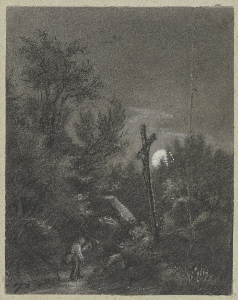 Cross in the moonlight, Hans Thoma