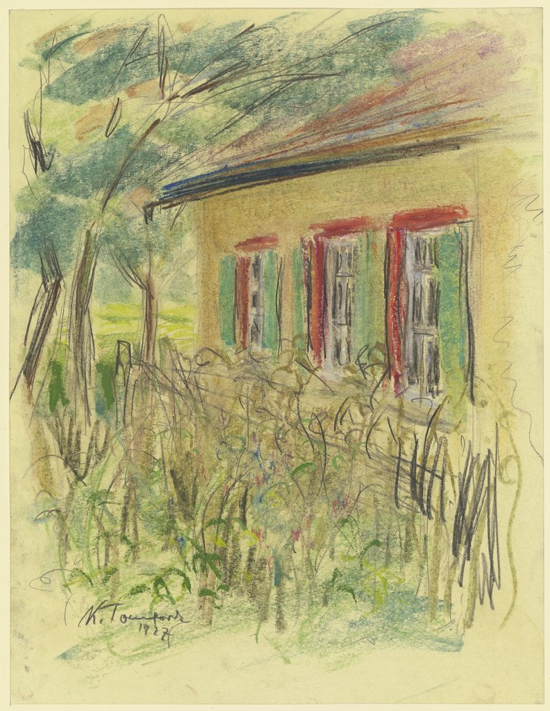 Corner of a house with front garden, Karl Tomforde