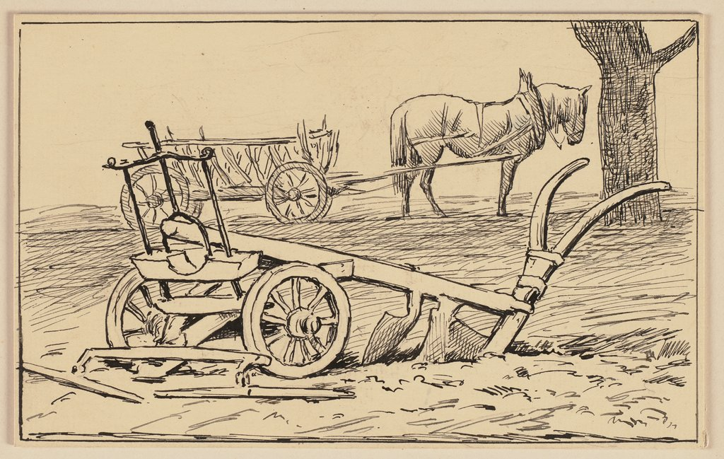 Drawing for the primer: Plough, Hans Thoma
