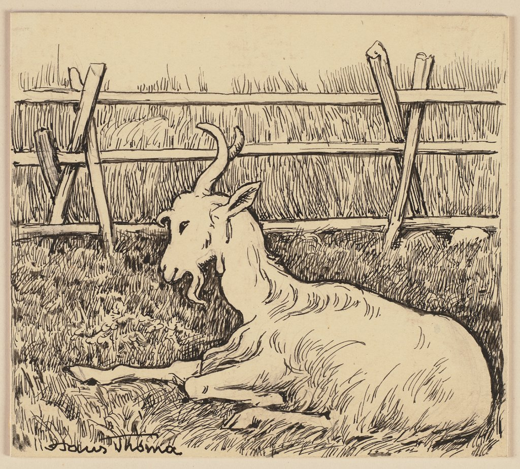Drawing for the primer: Goat, Hans Thoma