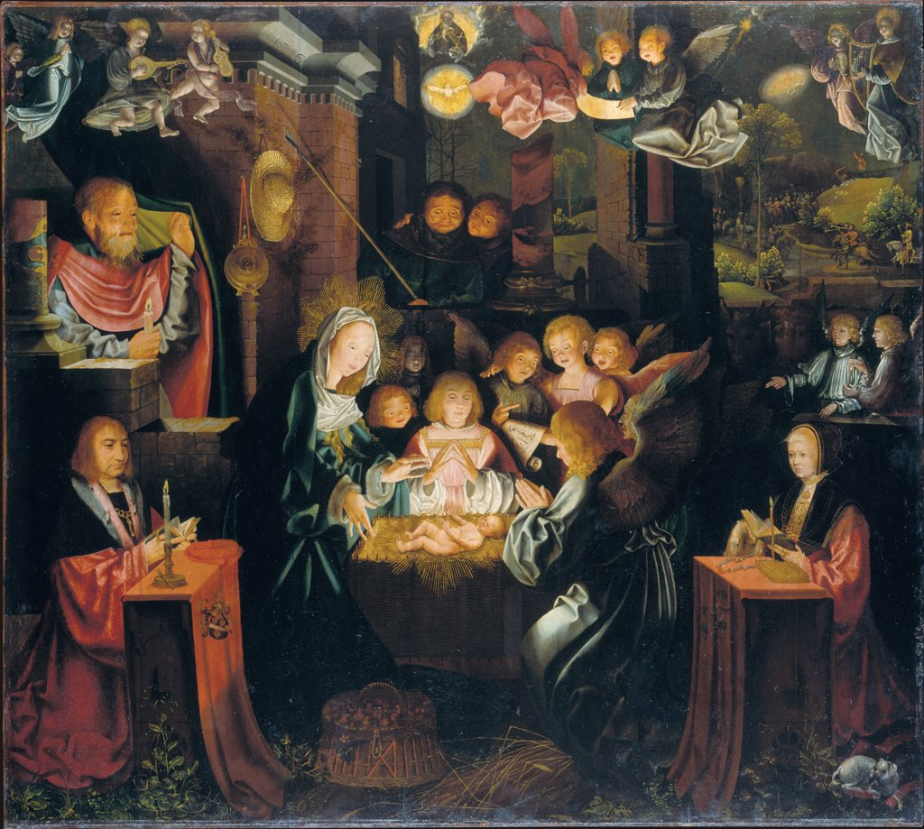 The Nativity with the Donors Peter von Clapis and Bela Bonenberg, Bartholomäus Bruyn the Elder