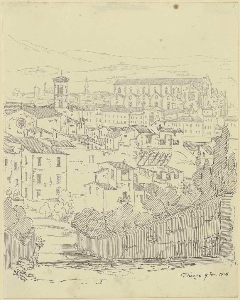View from Florence, Friedrich Maximilian Hessemer