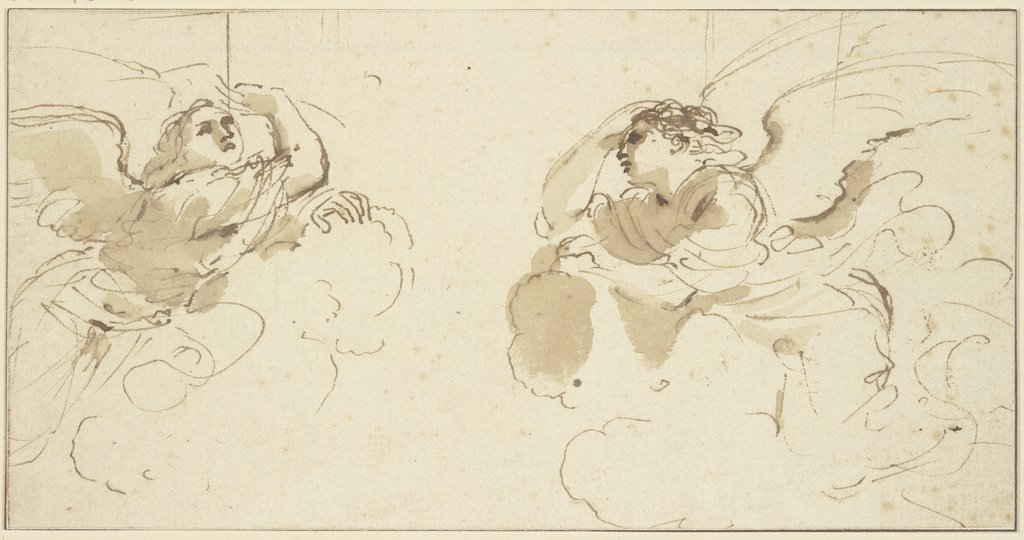 Two angels in clouds, Guercino (Giovanni Francesco Barbieri)