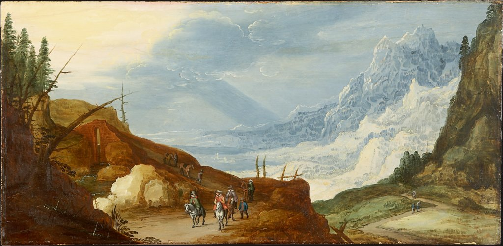 Mountain Landscape with Travelers, Art des Joos de Momper d. J.