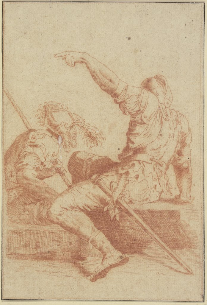 Two sitting soldiers, Salvator Rosa