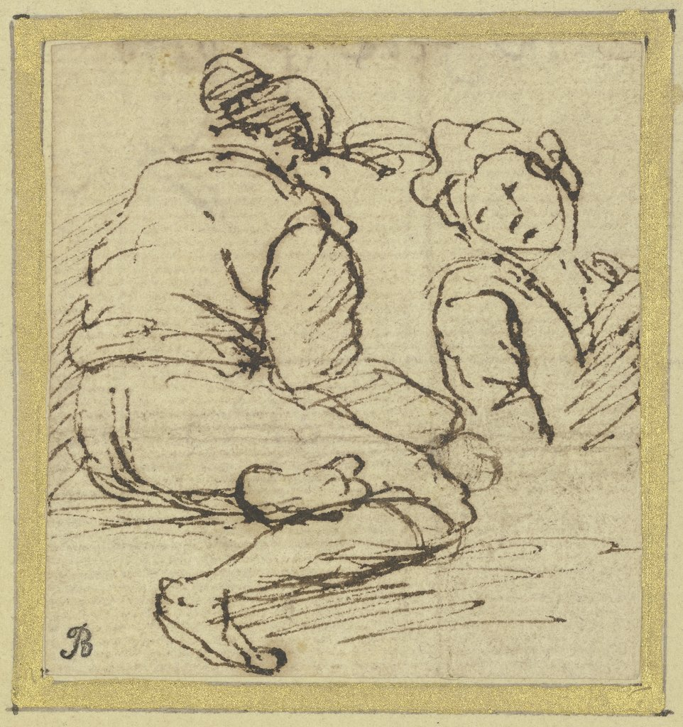 Two figures: on the left a seated man seen from the rear, on the right a half-length figure, Salvator Rosa