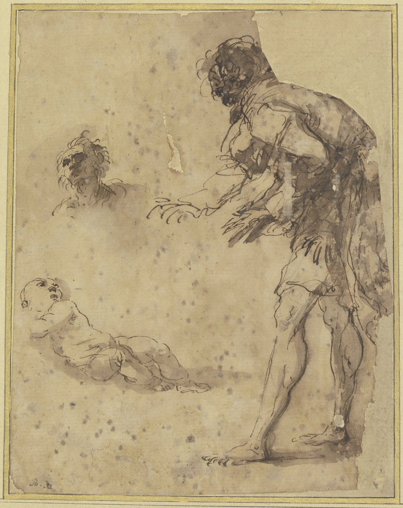 A man looks down at an infant lying on the ground; above there is a head study, Salvator Rosa