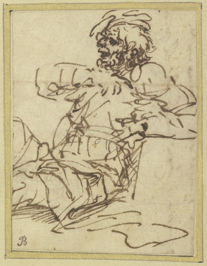 A man seated against a block on the right, Salvator Rosa