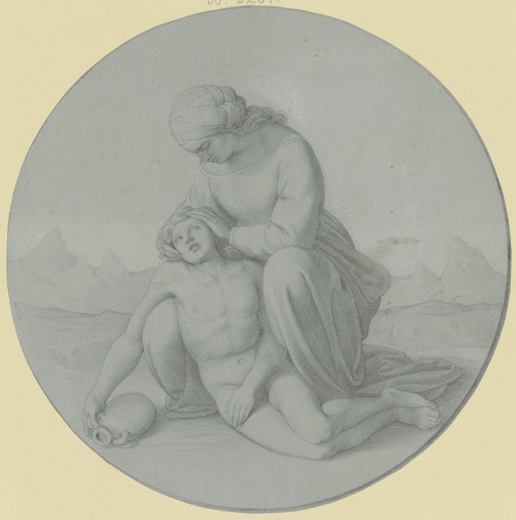 Hagar und Ismael in der Wüste, Carl Eduard Wendelstadt, after Christian Lotsch