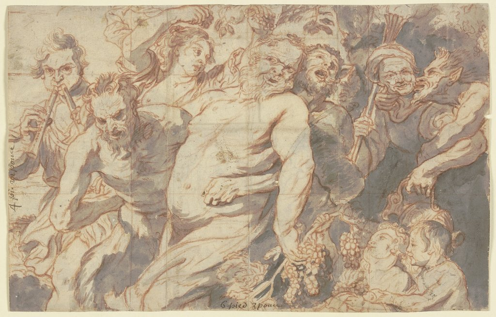 Trunkener Silen mit bacchantischem Gefolge, Unknown, 17th century, after Peter Paul Rubens