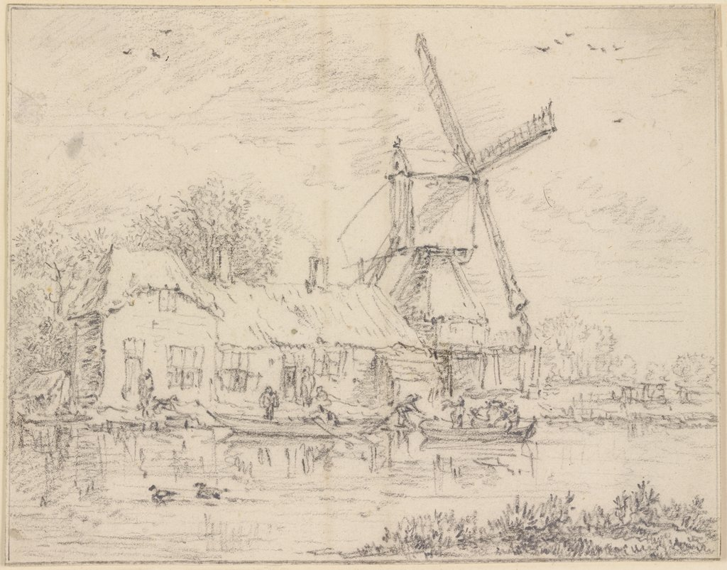 House and Windmill on the Bank of a Canal, Jacob Isaacksz. van Ruisdael