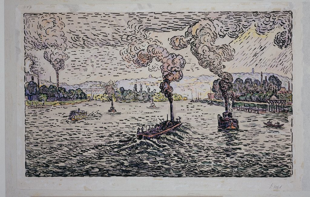 Seine with steamers, Paul Signac