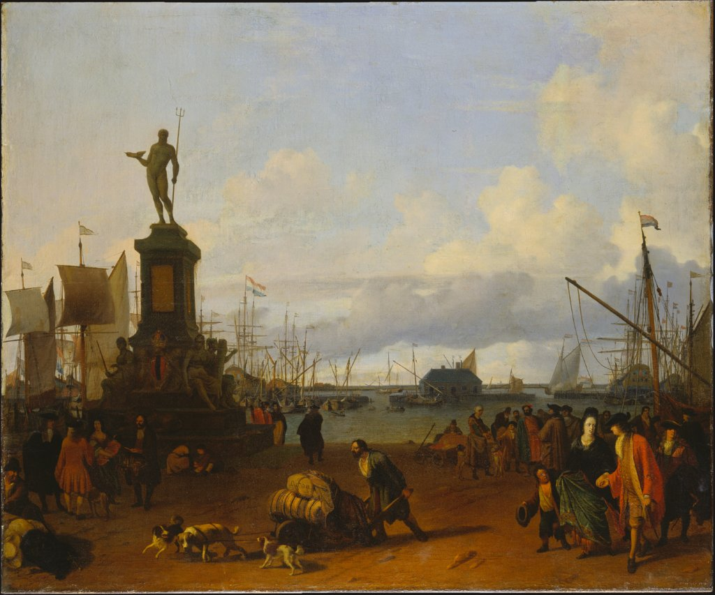 View of the Amsterdam Harbour at the IJ River, Ludolf Backhuysen