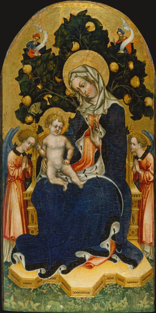 Virgin and Child Enthroned with Worshipping Angels and Prophets, Gentile da Fabriano  Nachfolge