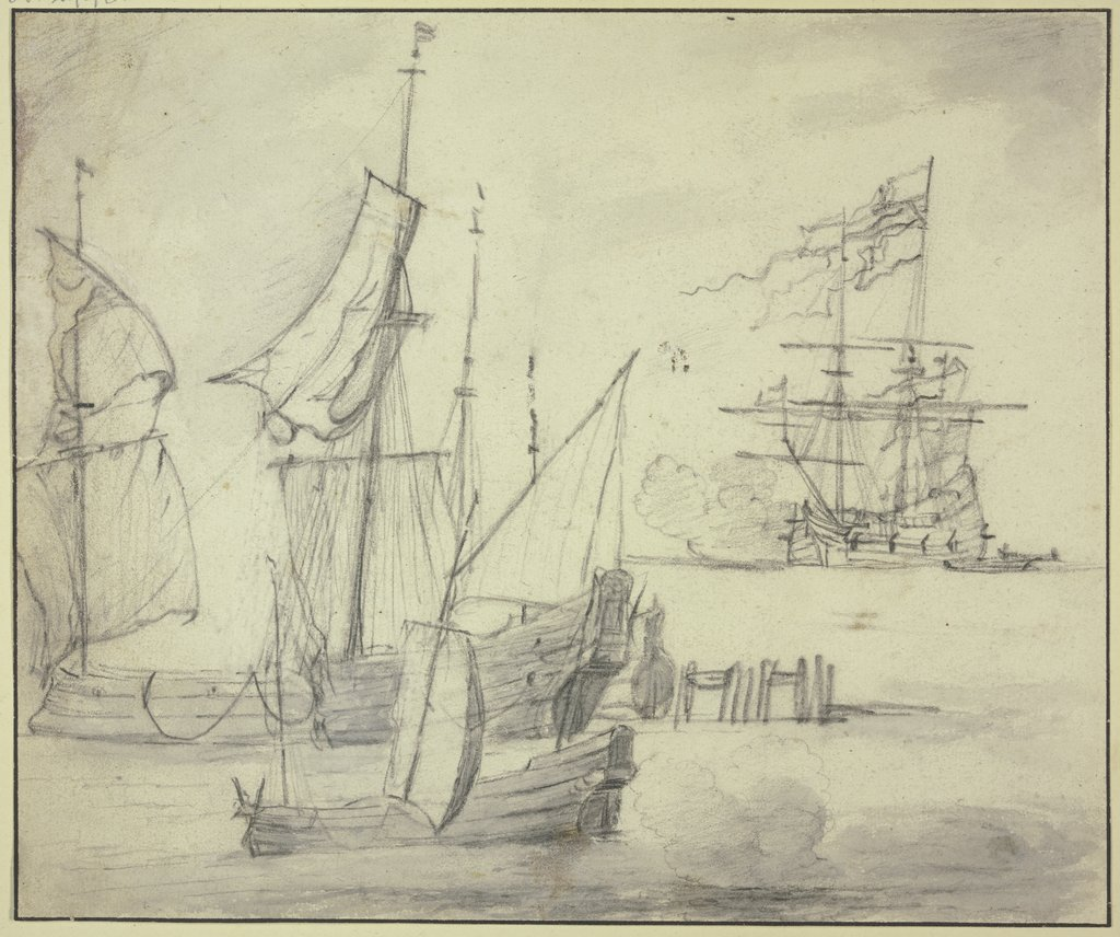 Study sheet: Ships, Abraham Storck the Elder