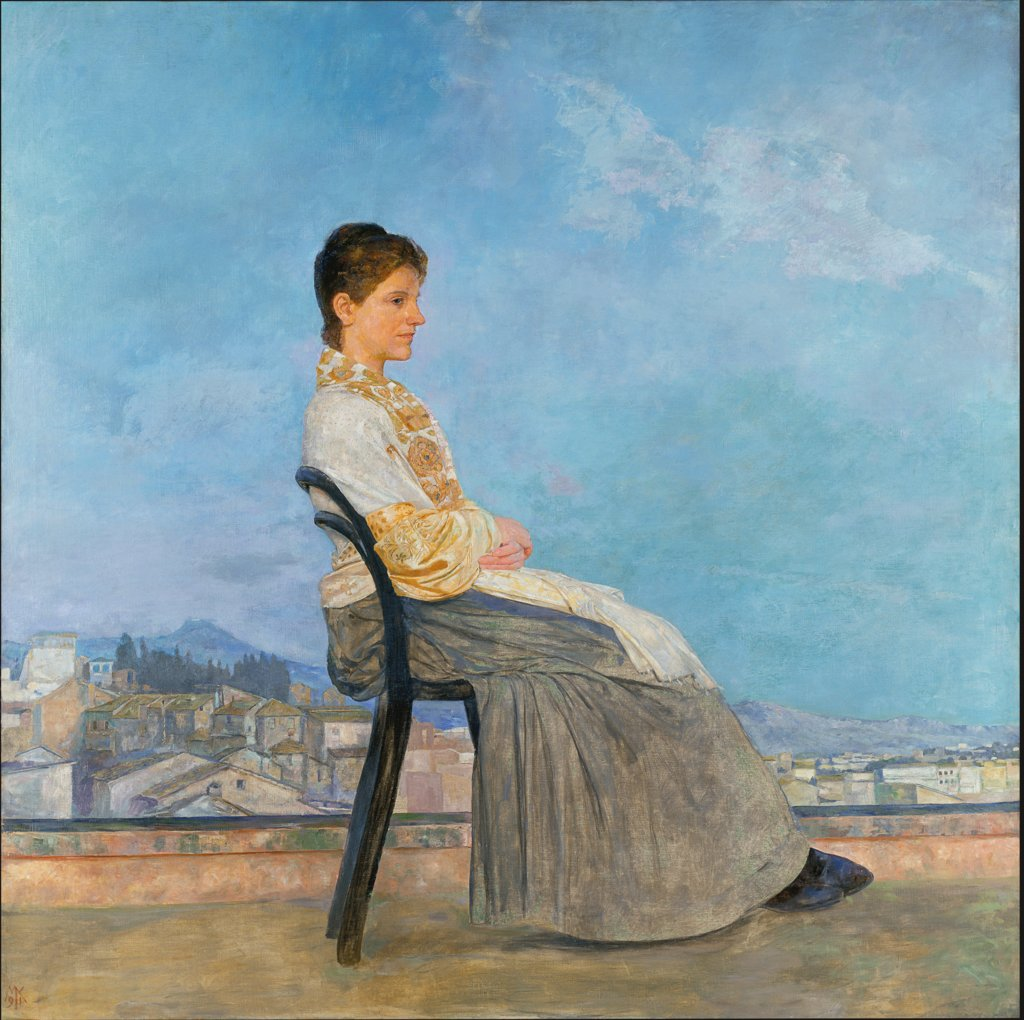 Portrait of a Roman Woman on a Flat Roof in Rome, Max Klinger