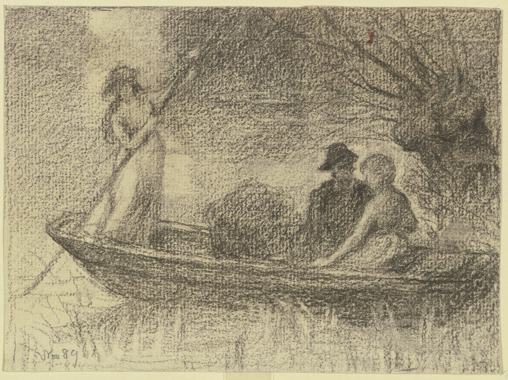 Couple in a barge, Otto Scholderer