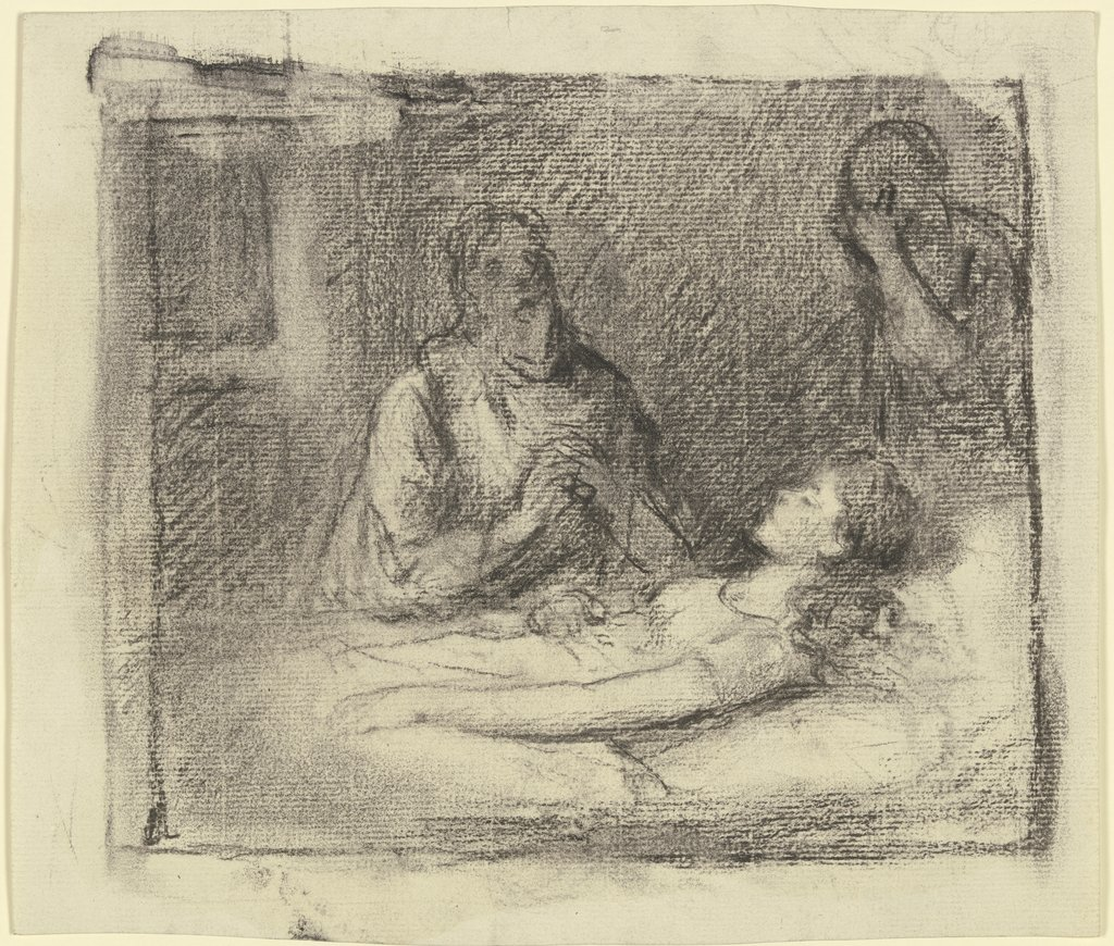 At the sickbed, Otto Scholderer