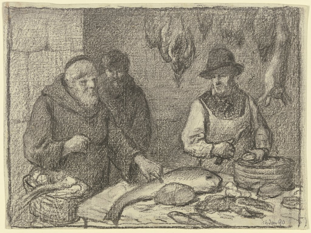 Monk with a fishmonger, Otto Scholderer
