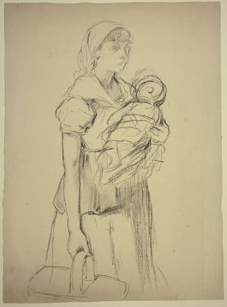 Farmwoman with child, Otto Scholderer
