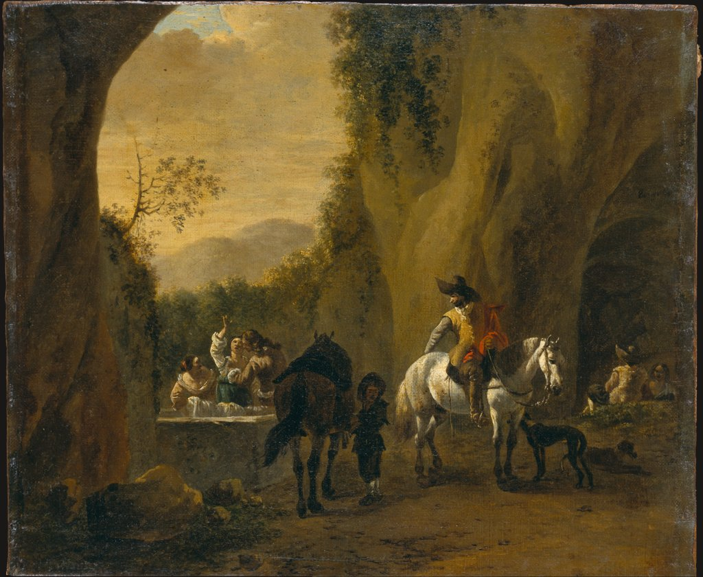Landscape with Well at a Cave Entrance with Riders Resting and Women Doing Laundry, Bartholomeus Engels