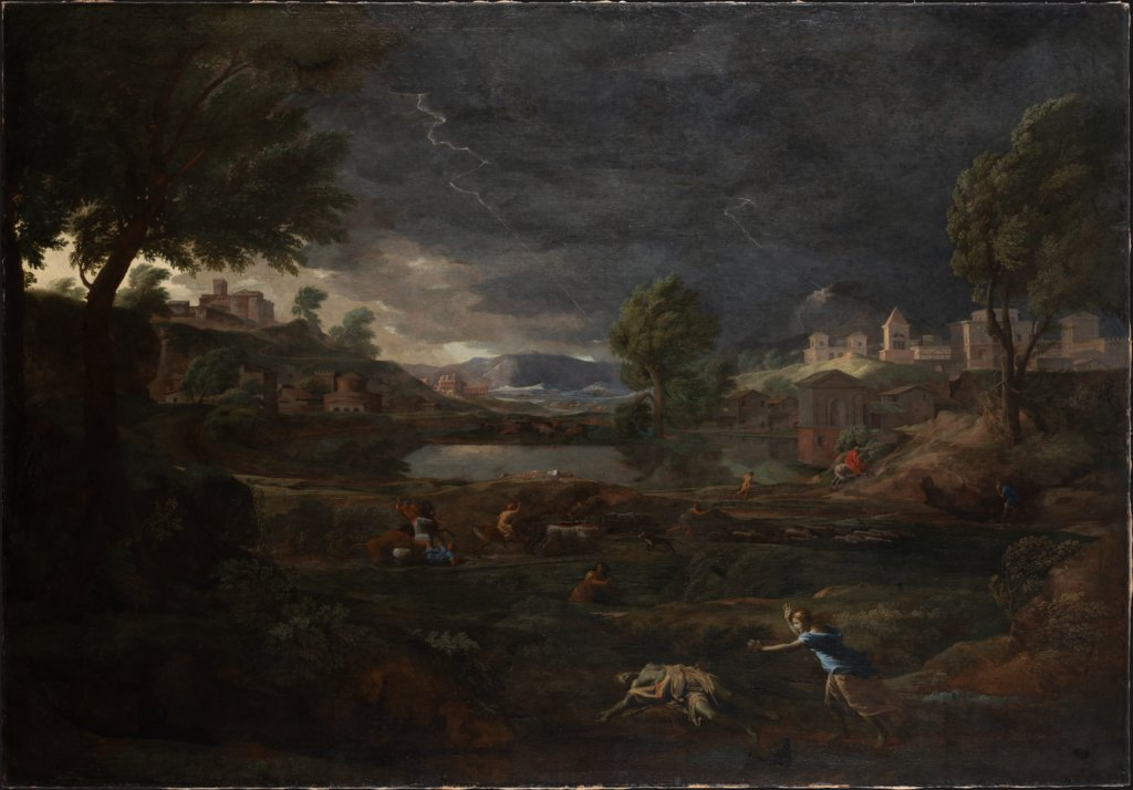 Landscape during a Thunderstorm with Pyramus and Thisbe, Nicolas Poussin