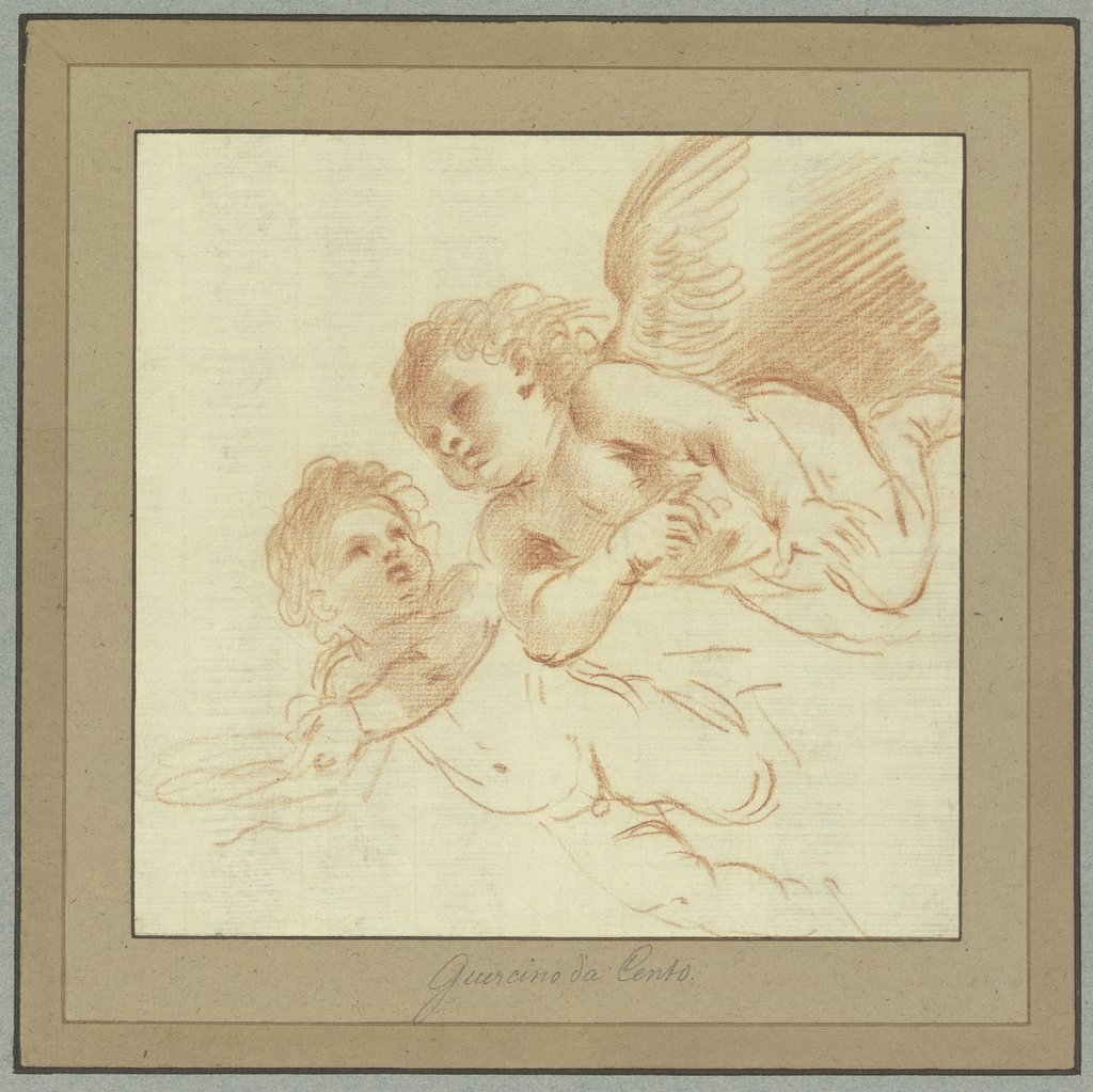 Zwei nach links fliegende Amoretten, Guercino (Giovanni Francesco Barbieri)
