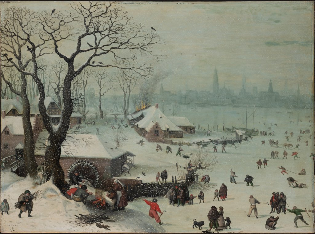 Winter Landscape with Snowfall near Antwerp, Lucas van Valckenborch