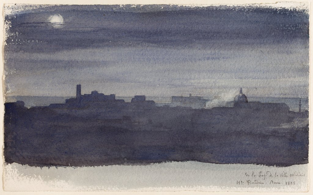 View of Rome at Night, Hippolyte Flandrin