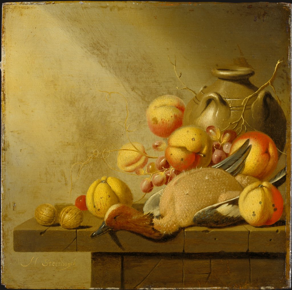 Still Life with Fruit and Plucked Duck, Harmen van Steenwijck