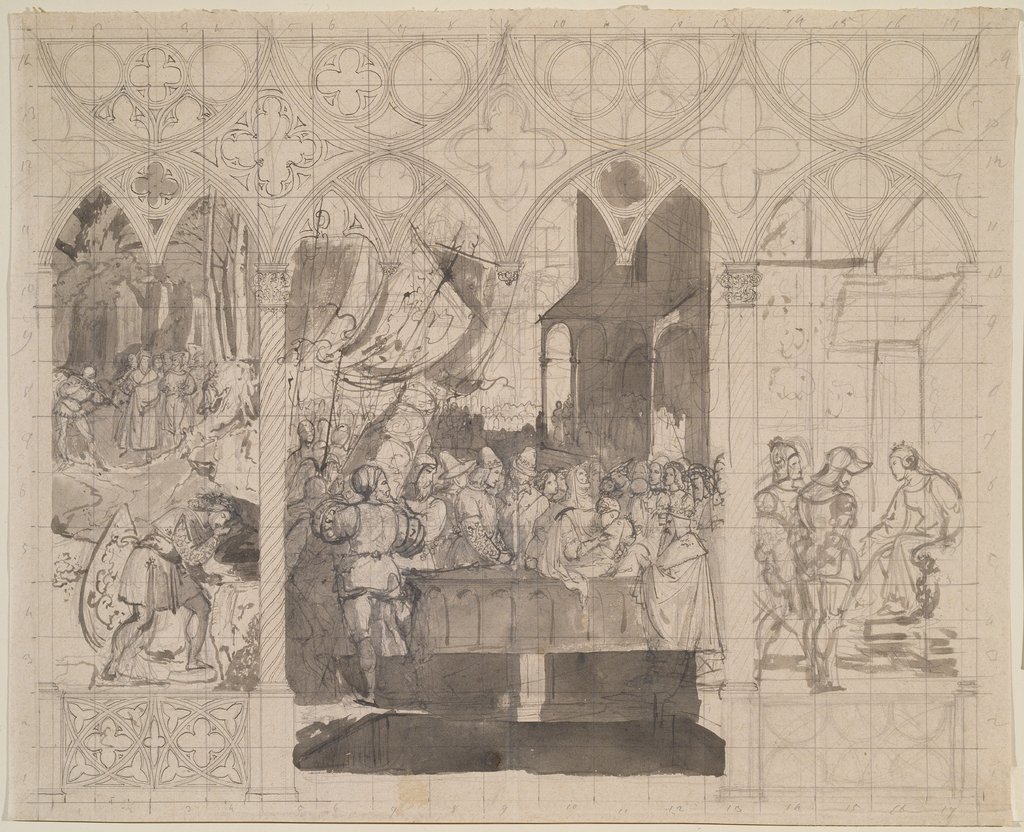 Designs for a triptych with scenes from the Song of the Nibelungs, Carl Philipp Fohr