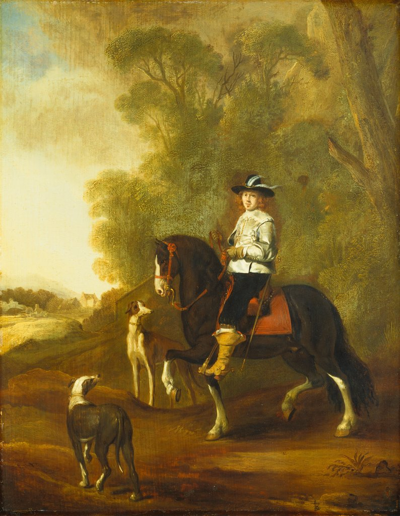 Portrait of an Horseman with two Dogs, style of Thomas de Keyser