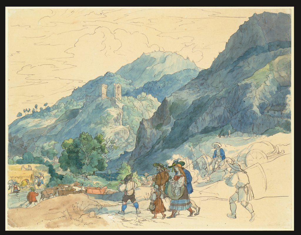 Landscape near Innsbruck with the Ruins at Fragenstein and Country People Returning Home and Working in the Fields, Carl Philipp Fohr