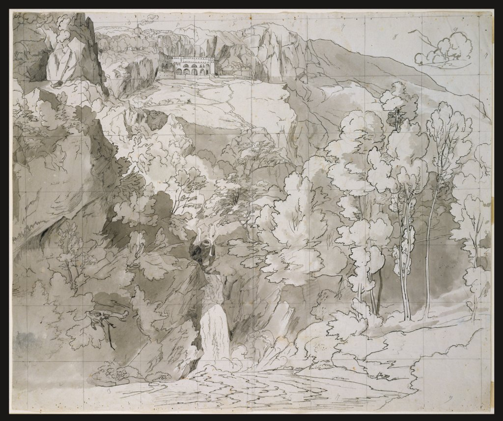 Landscape near Subiaco with a Waterfall and San Benedetto Monastery, Carl Philipp Fohr