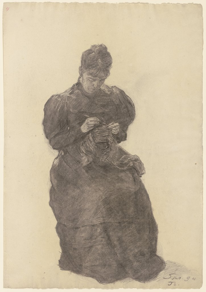 Mary Eysen crocheting, Louis Eysen