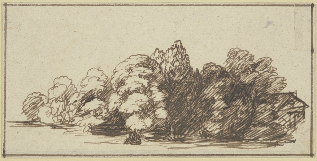 Tree group with house, Hendrik Goudt