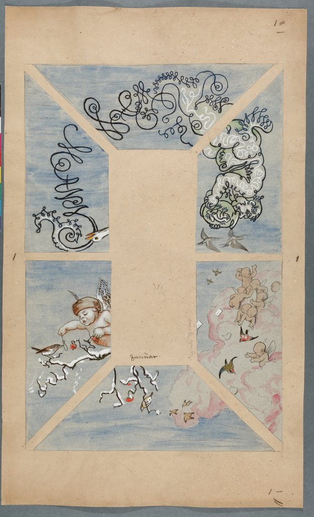 """January"". Design for the Ceiling of the Café Bauer (6 parts), Hans Thoma"