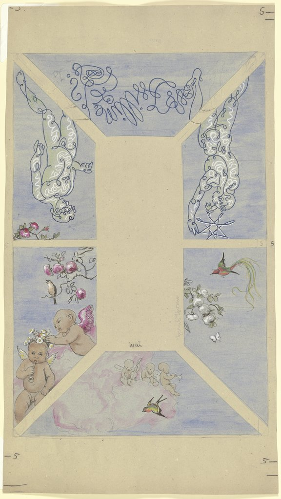 """May"". Design for a Ceiling Painting for the Café Bauer, Hans Thoma"