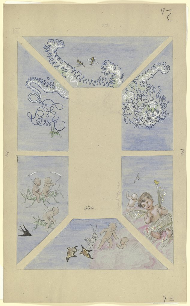 """July"". Design for a Ceiling Painting for the Café Bauer (6 parts), Hans Thoma"