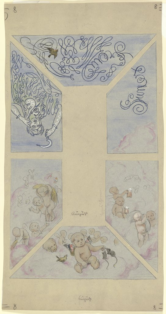 """August"". Design for a Ceiling Painting for the Café Bauer, Hans Thoma"