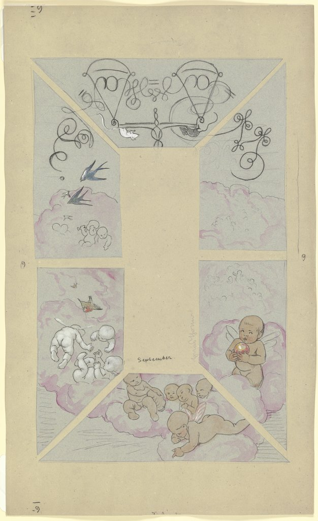 September. Design for a Ceiling Painting for the Café Bauer, Hans Thoma